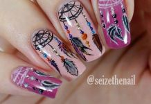 Gorgeous Dreamcatcher Design On Pink Nails