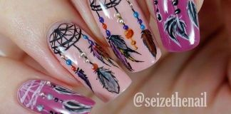 Gorgeous Dreamcatcher Design On Pink Nails