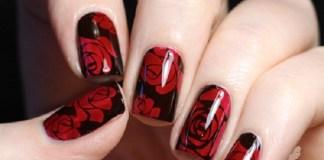 Dark Red Roses Nail Design