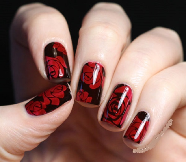 Dark Red Nails With Silver Sparkle Gel Nail Art
