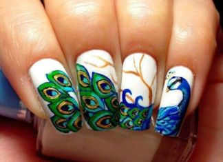 Peacock Design On White Polish