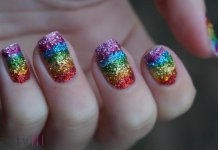 Rainbow Glitter Nail Design