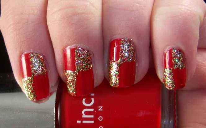 Glossy Red And Gold Nail Art