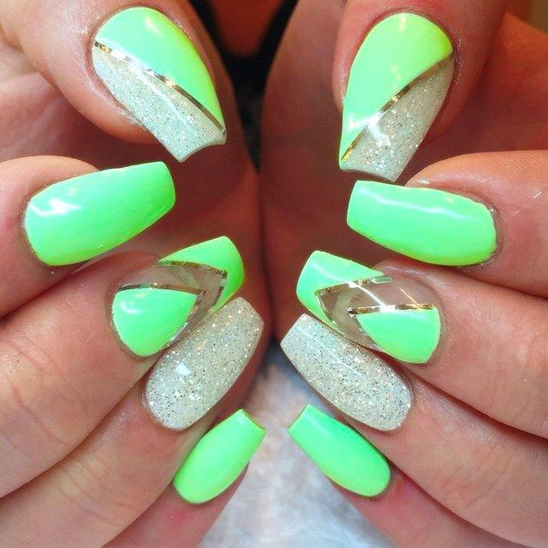 Neon With Chevron And Silvery Nails