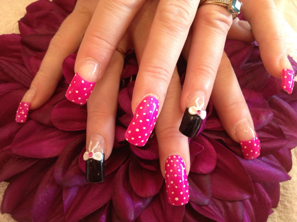 Acrylic Nails With One Stroke Flowers Nail Designs For You