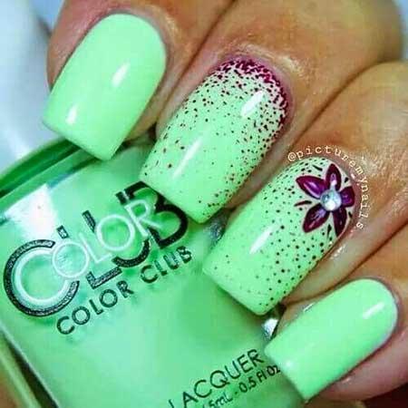 Nail Summer Polish Green Art Neon Color