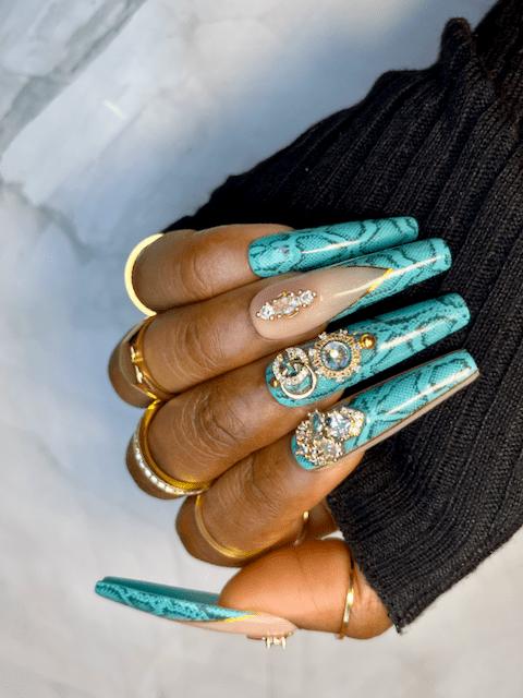 boujee press on nails tiffany blue