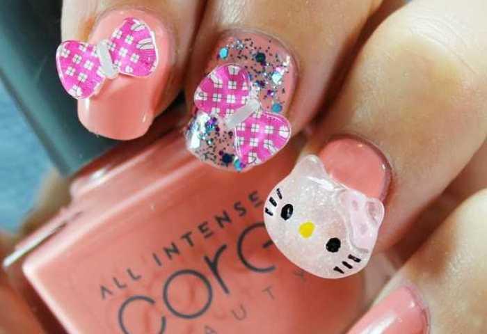 Uñas Decoradas Con Hello Kitty En 3d Nailistas Productos De Uñas