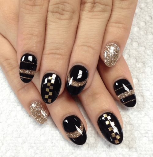 View Images Black Gold Acrylic Nail Designs Art Ideas