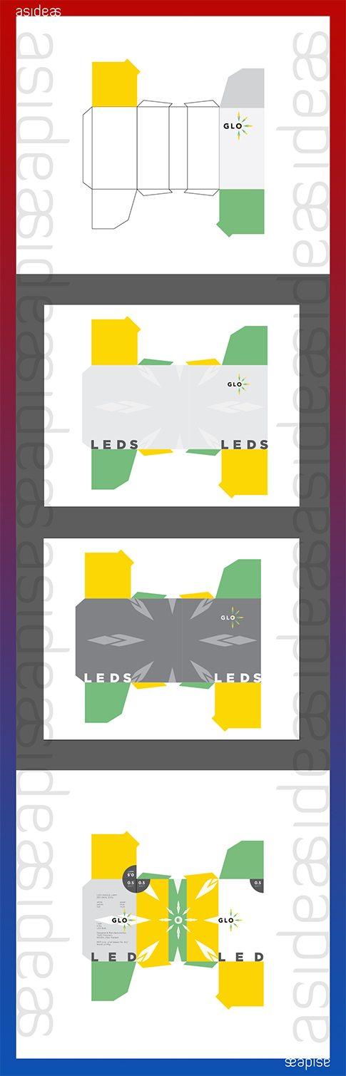 GLO CFL LED Lighting Fixtures India Branding Visual Identity Logo Design Naina.co aside asidebrands Packaging