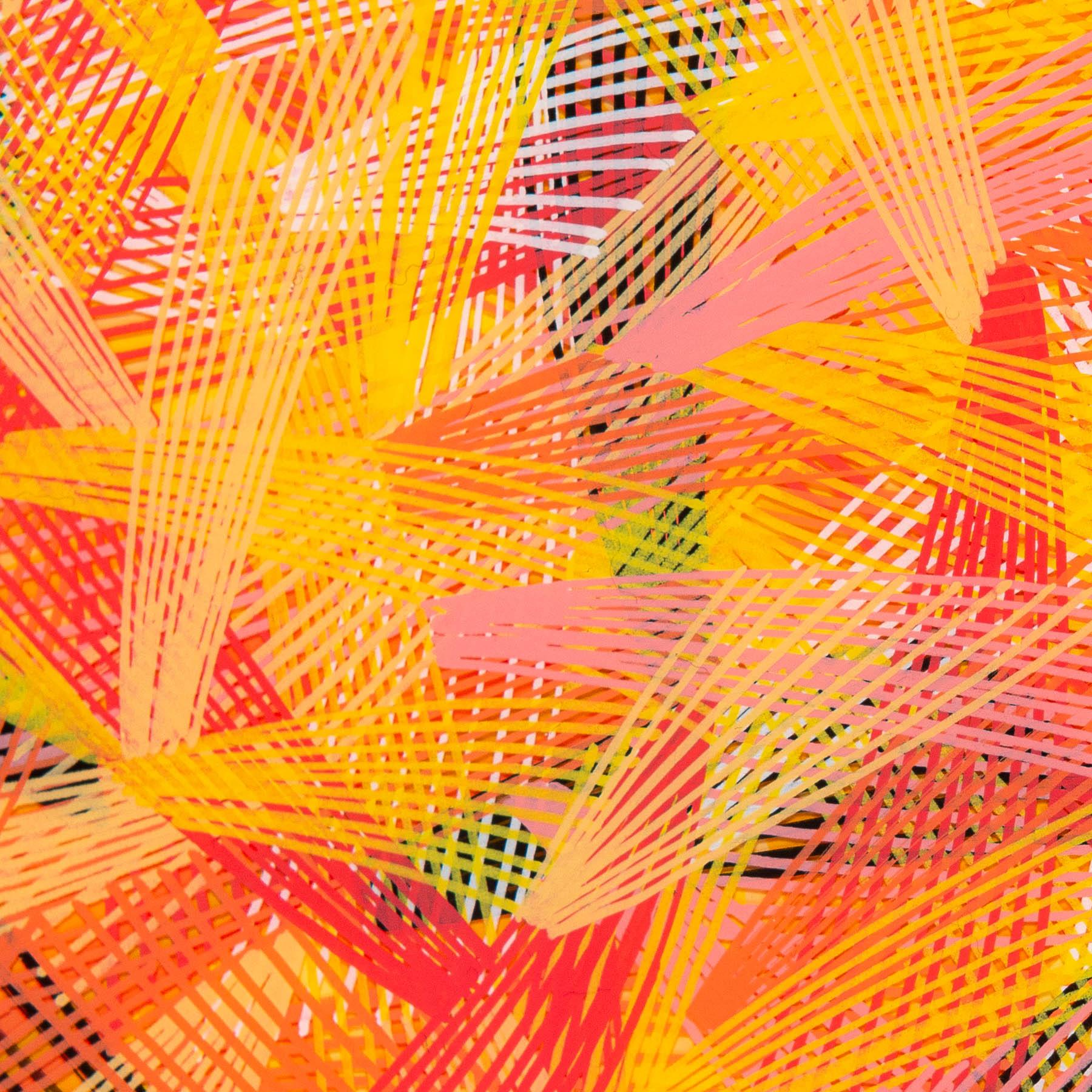 newsprint, tangerine, edition, newsprint tangerine edition, 8 inches diameter, circular canvas, naina redhu, naina.co, khaosphilos, handpainted, hand-painted, hand painted, indian contemporary art, indian contemporary artist, round canvas, acrylics on canvas, fine art, impressionism, hatching, stippling, line art, geometric abstraction, yellow, orange, lines, black, white, madeinindia, makeinindia, khaos philos, make in india, made in india, handmade in india, handmadeinindia, canvas painting, painting, art indian art, art in india, indian artist