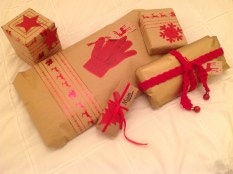 The theme for this year was brown paper with red decorations.