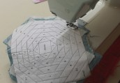 The pieces needed to be carefully placed before sewing on the reverse.
