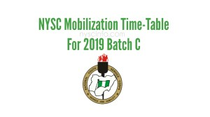 NYSC Time Table for Batch C 2019