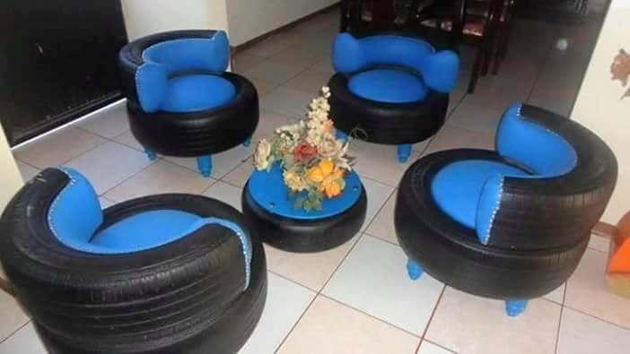 Banke Lady Uses Recycled Tyres To Build Furniture Photos