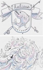 Illustration: Halieus Fishing Girls Tees