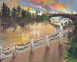 Value Painting Sketch – The Gorge Waterway Victoria BC