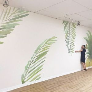 Pineapple and Palm Mural – Poke Time Royal Centre, Vancouver