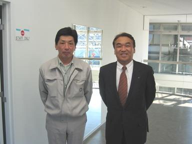 中山社長と久保田係長(写真左)