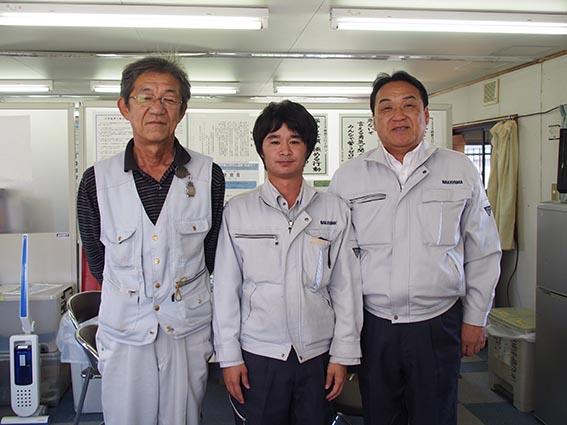 左から 山本さん(遠藤組)、光原さん、中山社長