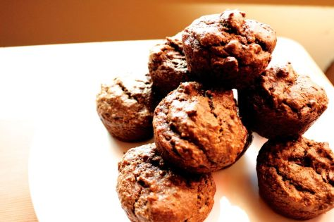 chocolate banana avocado muffins
