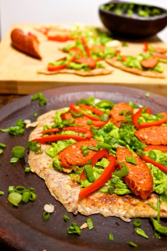 3 ingredient paleo flatbread with avocado and chorizo