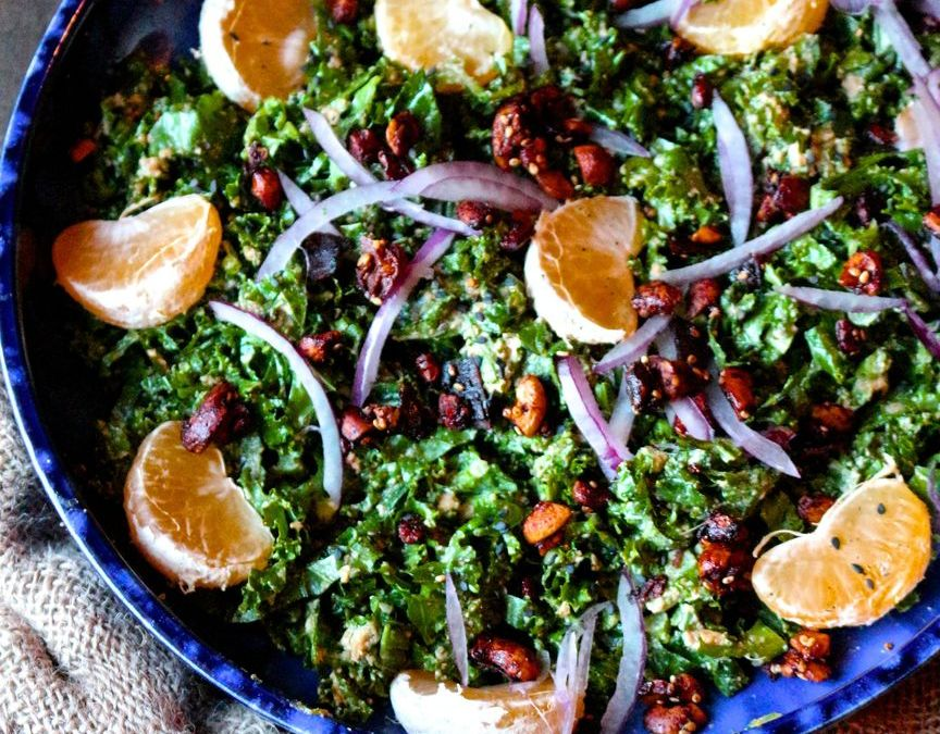 Mandarin Kale Salad with Ginger Sunshine Sauce
