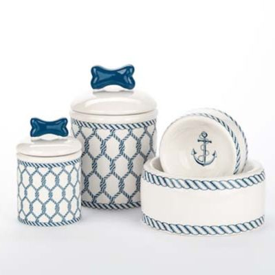 Nautical Ceramic Bowl & Treat Jar Set