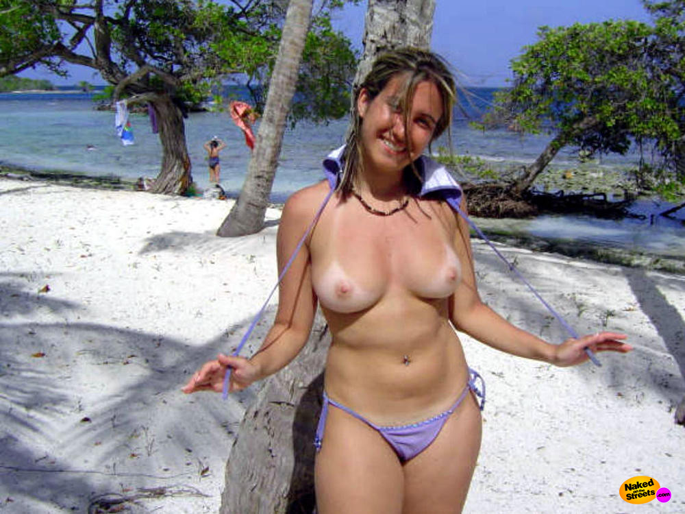 Wife topless on vacation