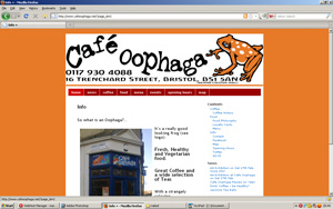 Wordpress site for Cafe Oophaga