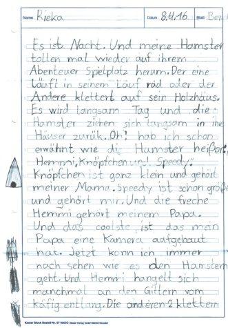 Grundschulaufsatz über Hamster - Seite 1