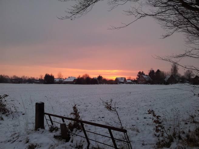 Schnee am Abend in Aurich