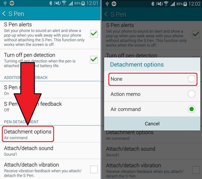 Galaxy Note 4 отключить всплывающее меню воздушных команд