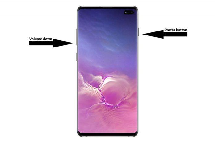 галактика s10 снимок экрана клавиша включения уменьшения громкости