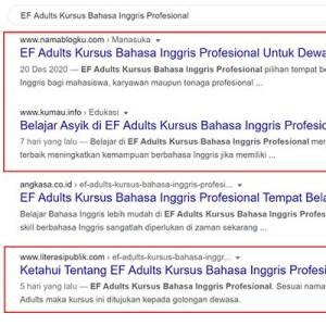 Artikel EF Adults Muncul di SERP