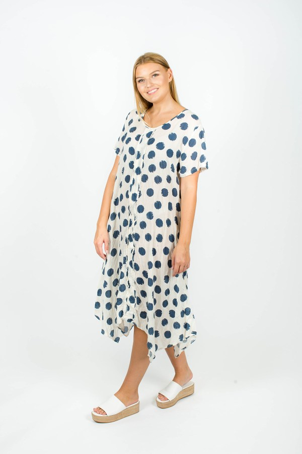 Poppy Dress Spot Navy