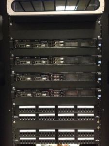 Ethernet and fiber patch panels in our switching racks