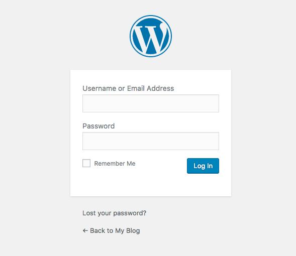 WordPress login window