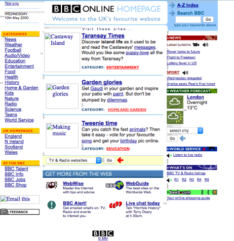 snapshot of BBC website in 2000