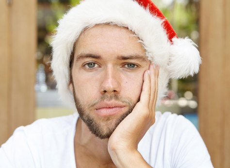 sad man with santa hat