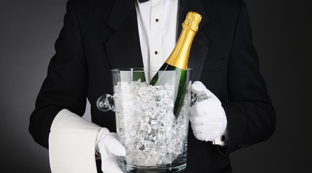 premium service - bottle of champagne and tuxedo