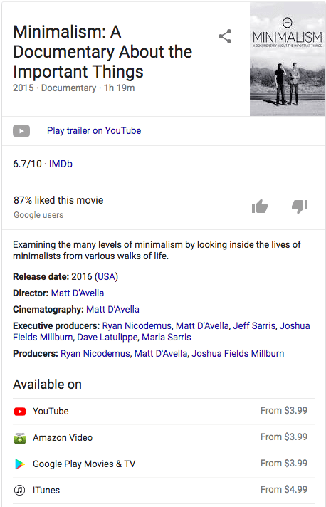 Screenshot of the Google knowledge graph of Minimalism: A Documentary