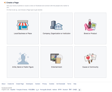 screenshot of Facebook page setup