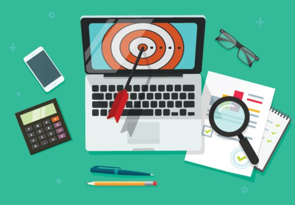 target marketing illustration of laptop with bullseye
