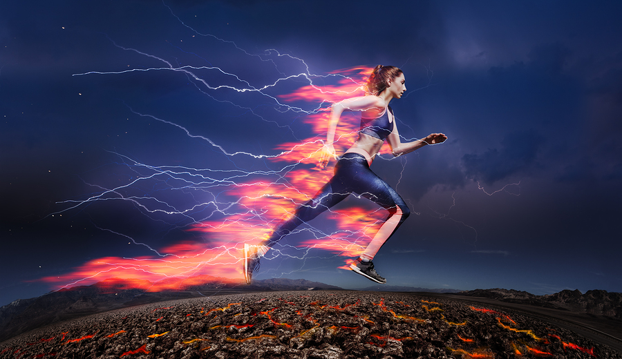 woman running fast to mimic increased site speed