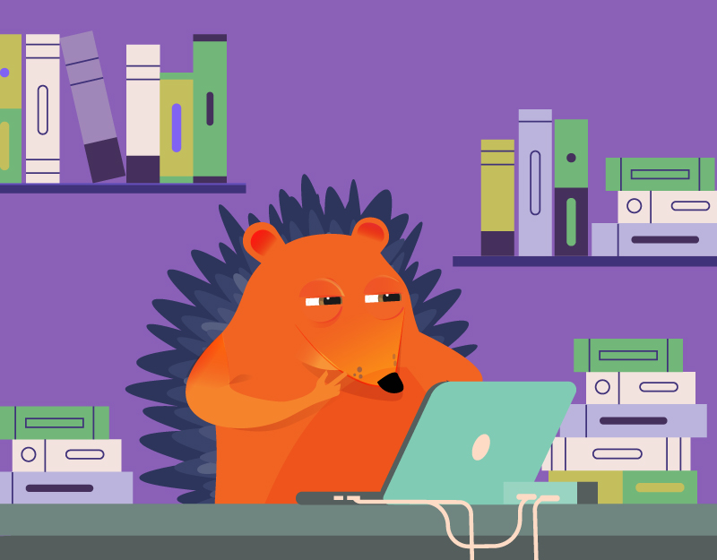 Hedgehog at laptop surrounded by books