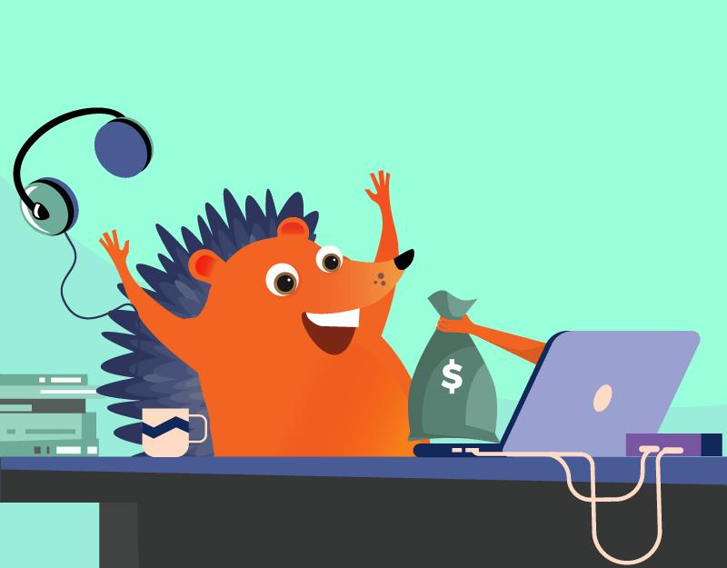 hedgehog celebrating getting paid