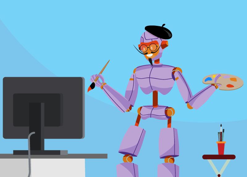 robot artist designs his website