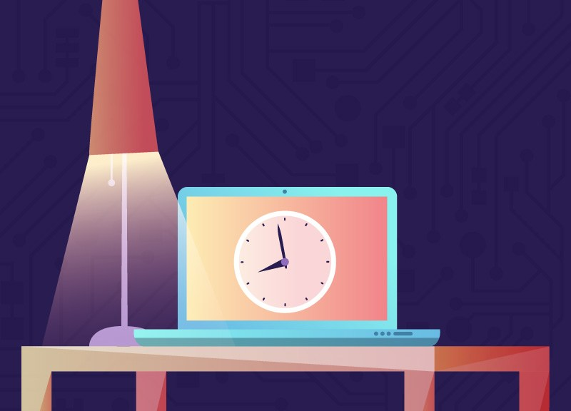 illustration of laptop with a clock on the screen