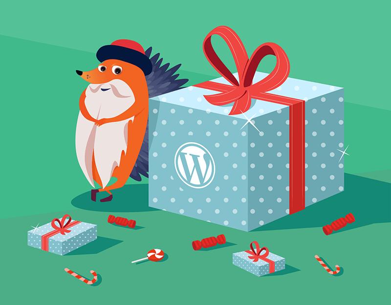 Gutenberg hedgehog with WordPress present
